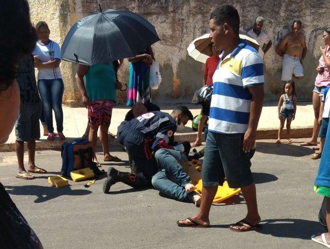 Acidente em Senador Canedo deixou motociclista ferido | Foto: Leitor/Whatsapp