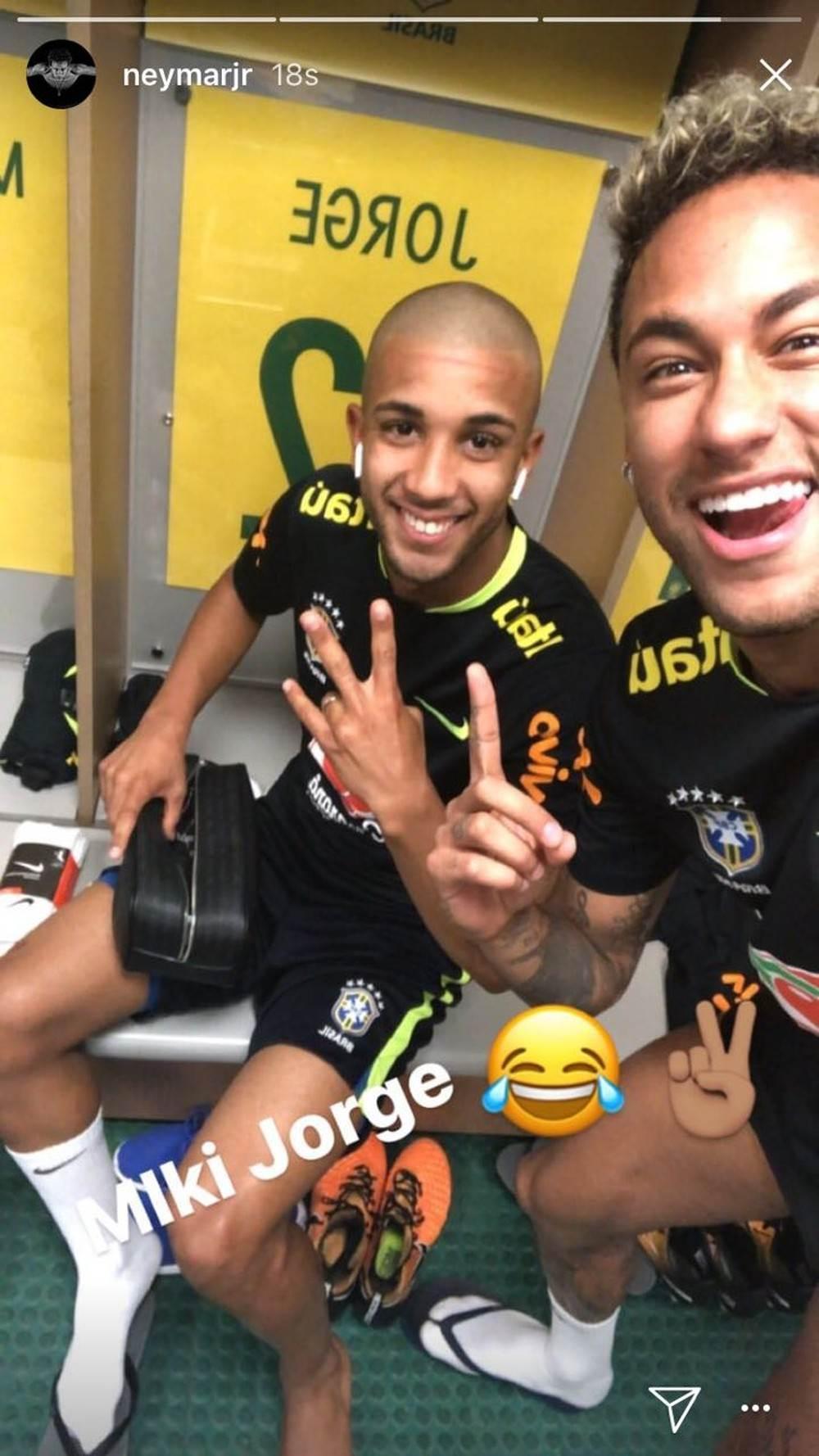 Jorge teve a cabeça raspada por Neymar na concentração | Foto: Reprodução / Instagram