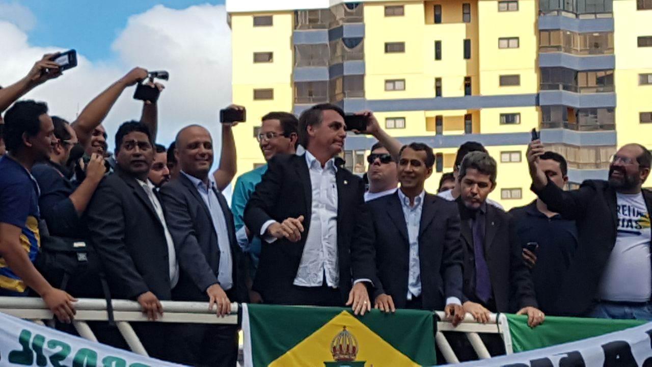 Deputado federal Jair Bolsonaro em Anápolis (GO)   Foto: Leitor/ WhatsApp