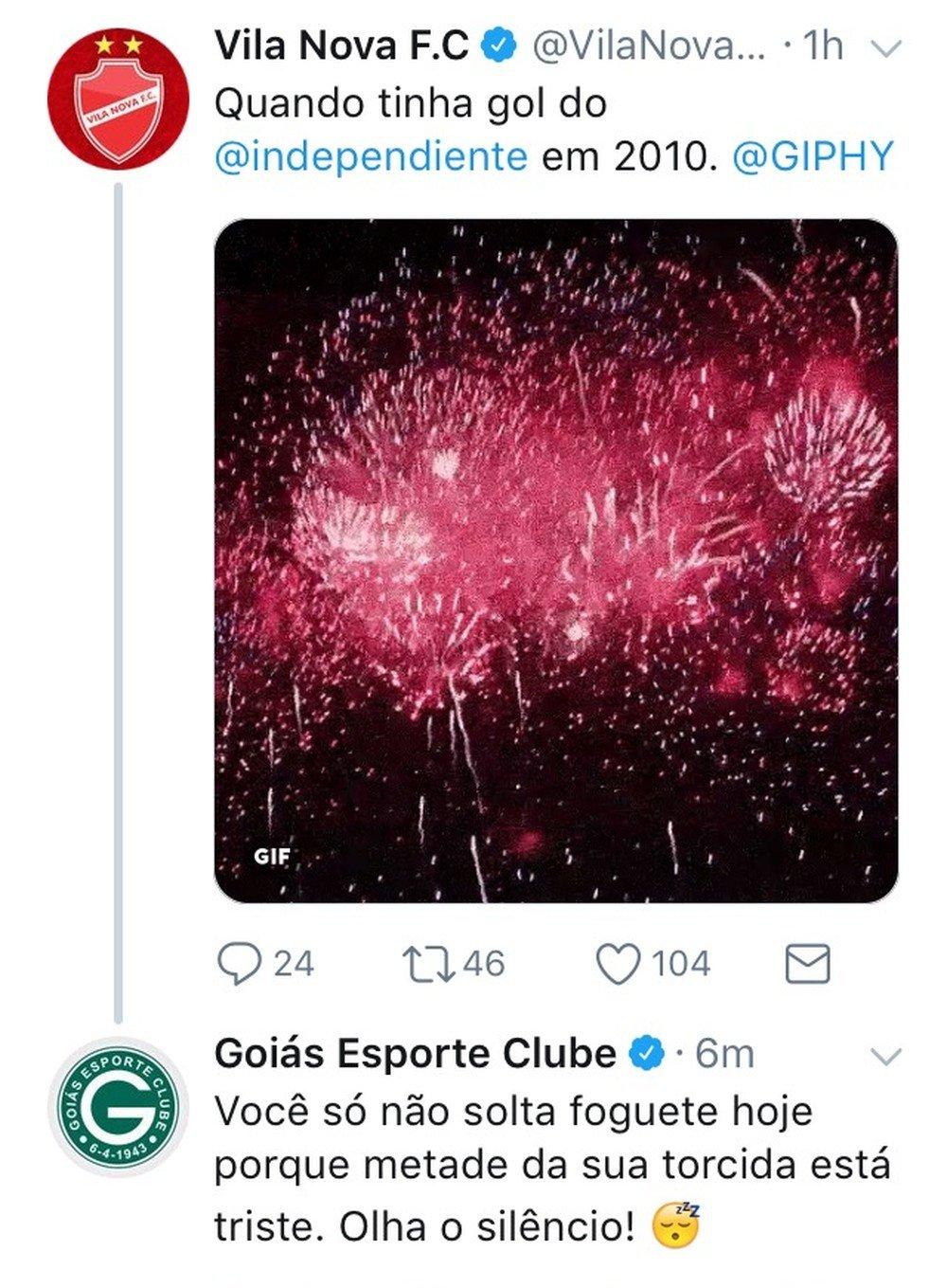 Vila e Goiás trocaram farpas pelas redes | Foto: Reprodução/ Twitter