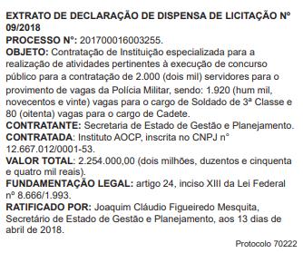 Trecho do Diário Oficial do Estado de Goiás desta segunda-feira, 16 | Foto: Reprodução/ DOE