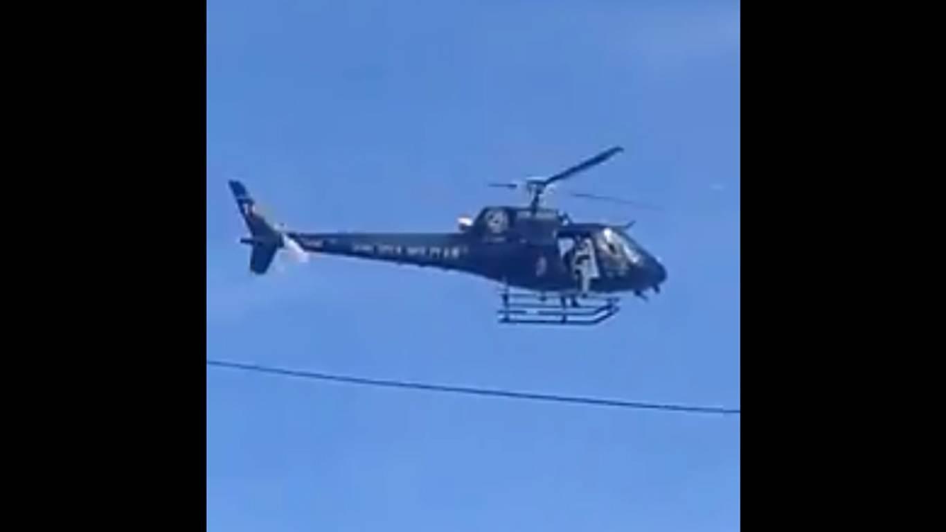 Helicóptero da PM flagra carro roubado e participa de prisão em Goiânia | Foto: Reprodução/ Whatsapp