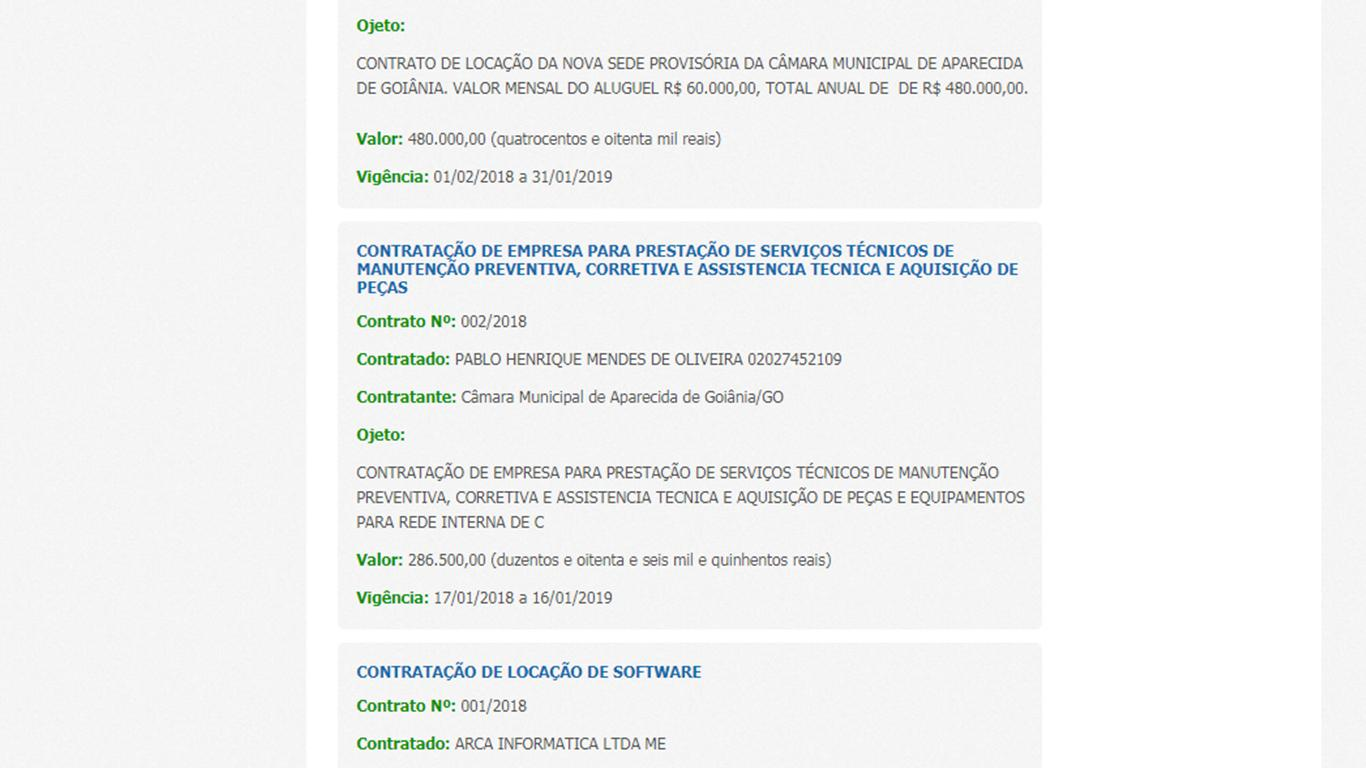Exemplo de contrato sem especificação presente no site da Câmara de Aparecida de Goiânia   Foto: Reprodução/ Portal da Transparência