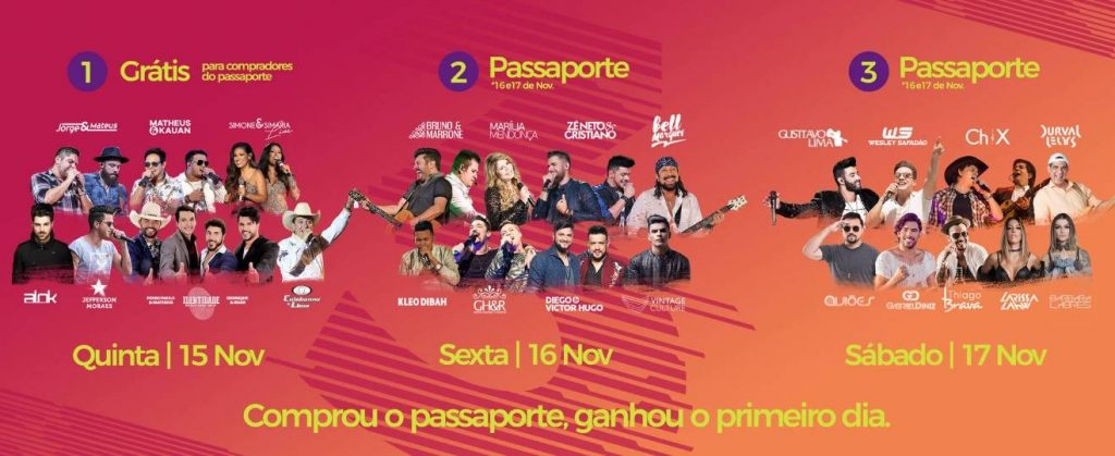 Programação completa do Caldas Country 2018 | Arte: Site Caldas Country