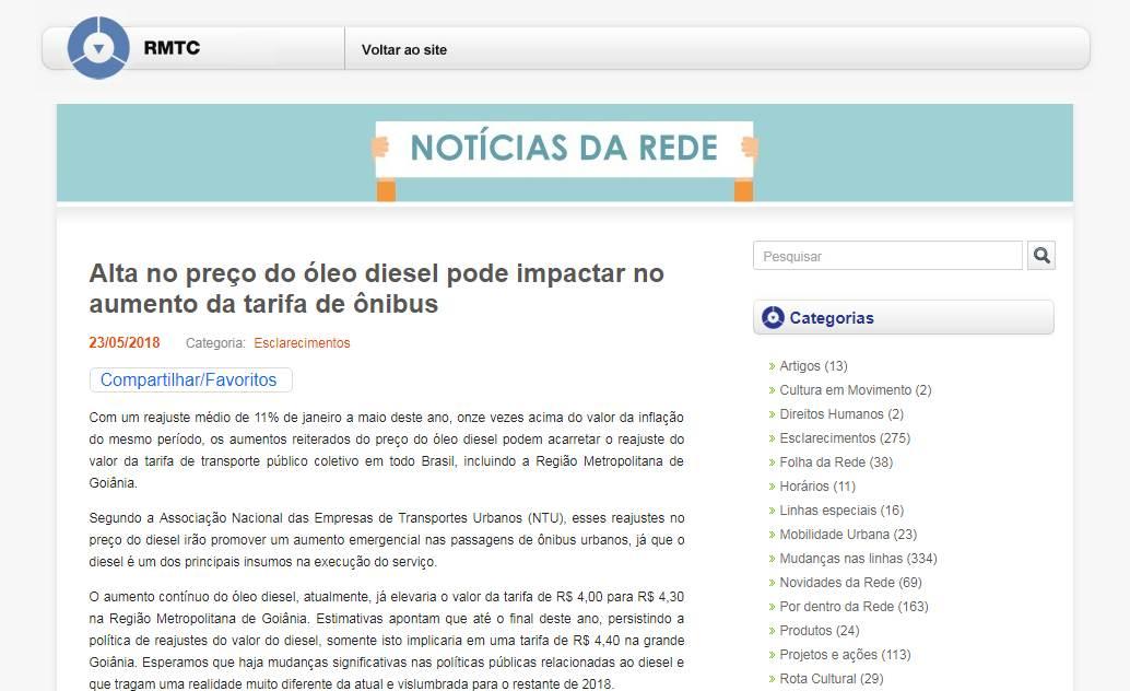 Nota da RMTC protesta contra preço do óleo diesel | Foto: Reprodução