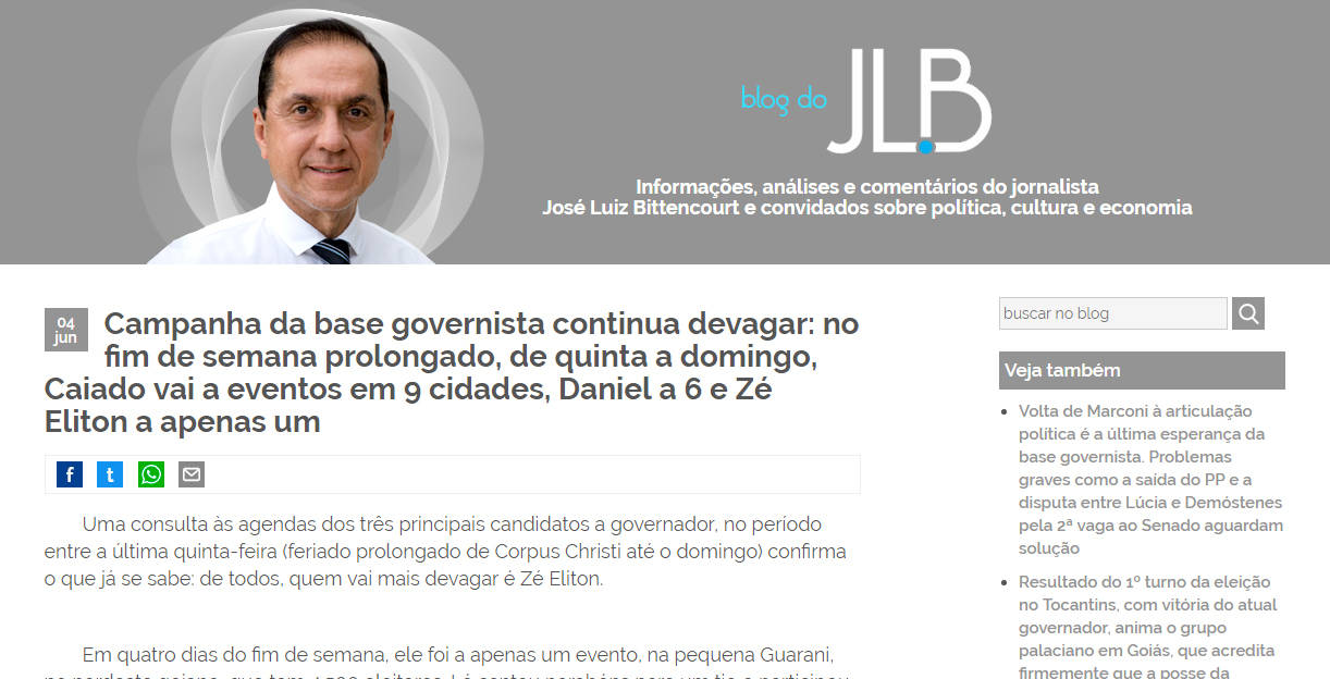 Postagem no blog do jornalista e ex-presidente da Agência Goiana de Comunicação (Agecom) José Luiz Bittencourt Filho | Foto: Reprodução