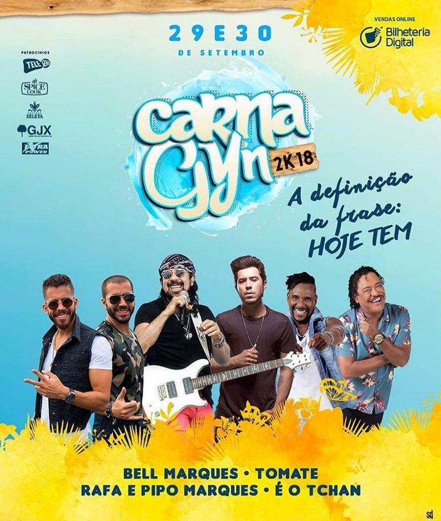 Carnagyn 2018 será embalado com programação versátil, com artistas famosos no carnaval nacional | Arte: Divulgação