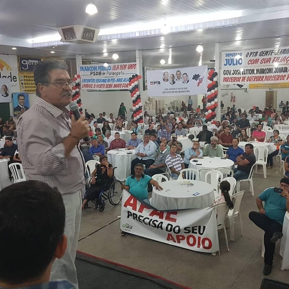 Evento organizado pelo deputadoJúlio da Retífica (PTB) em Porangatu | Foto: Leitor/Whatsapp