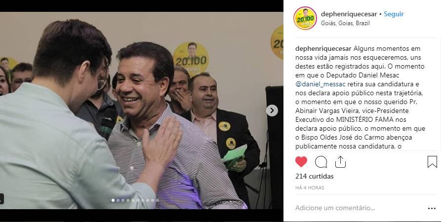 Henrique César comemorou o apoio de Daniel Messac em seu Instagram | Foto: Reprodução