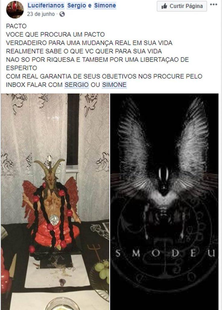 Casal ofertava serviços satânicos em redes sociais | Foto: Reprodução