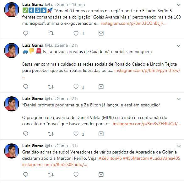 Tuítes do radialista Luiz Gama | Foto: Reprodução / Twitter