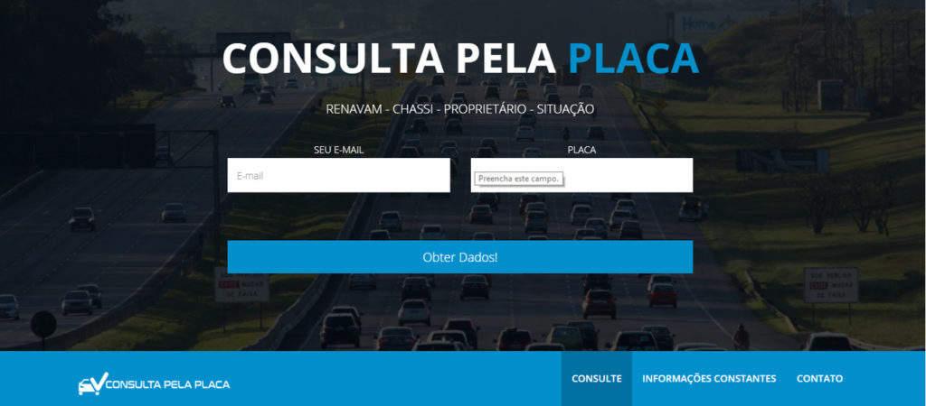 Página inicial do site. Além da consulta de multas pela placa do carro, também é possível consultar outros detalhes