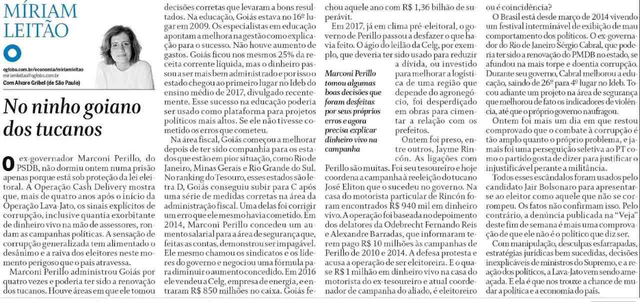 Míriam Leitão escreve artigo com duras críticas a Marconi Perillo | Foto: reprodução