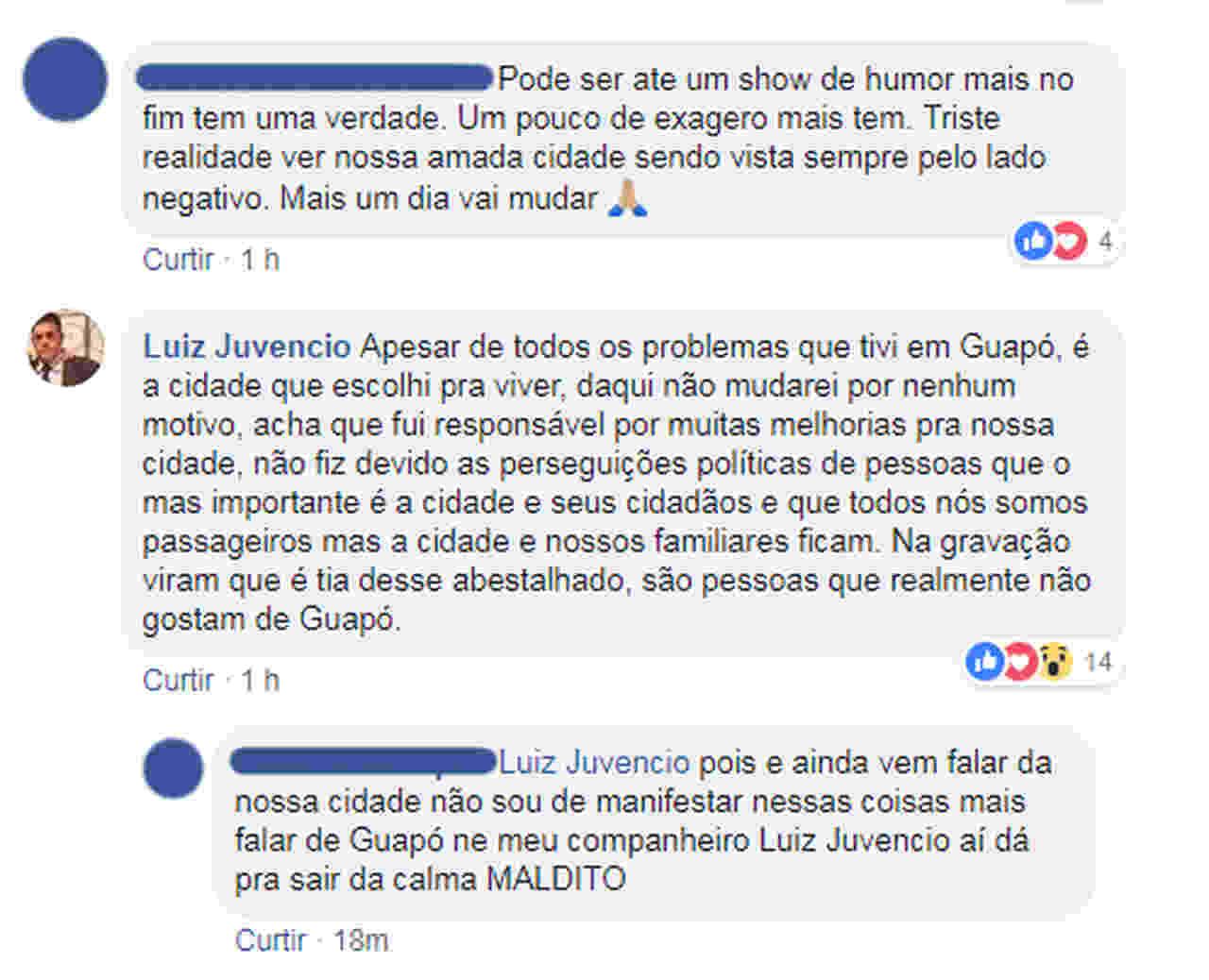 Ex-prefeito de Guapó, Luiz Juvêncio comentou o caso no Facebook | Foto: Reprodução