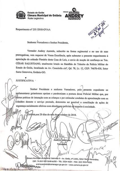 Câmara aprova moção de apoio a ser anexada ao dossiê funcional de PM | Foto: Reprodução
