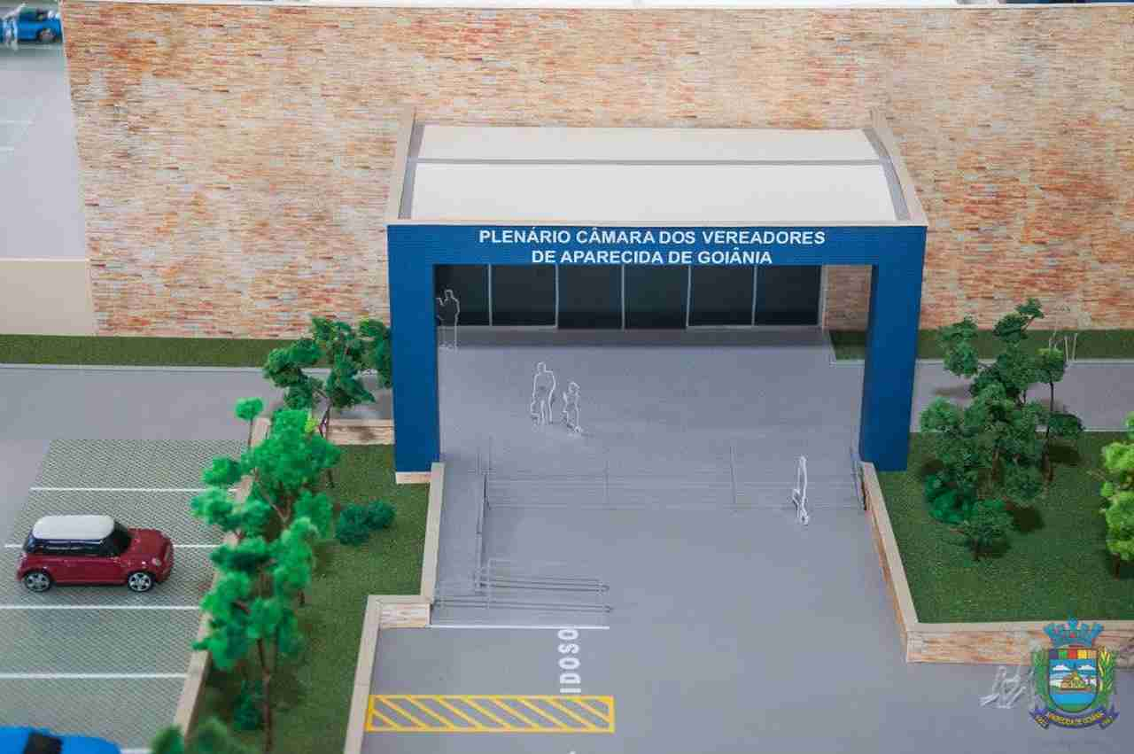 Maquete da nova sede da Câmara de Aparecida lançada em solenidade ainda no final de 2014 | Foto: Câmara de Aparecida