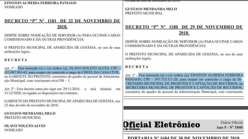 Nomeações de Einstein Paniago e Olavo Noleto foram publicadas na edição desta segunda-feira, 3, do Diário Oficial de Aparecida de Goiânia | Foto: Reprodução