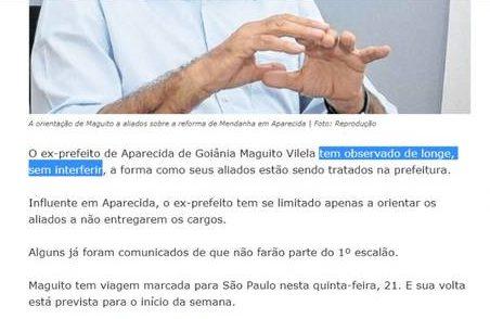 """Nota publicada pelo FZ no dia 21/02/19: """"Maguito orienta aliados sobre possíveis mudanças em Aparecida"""""""