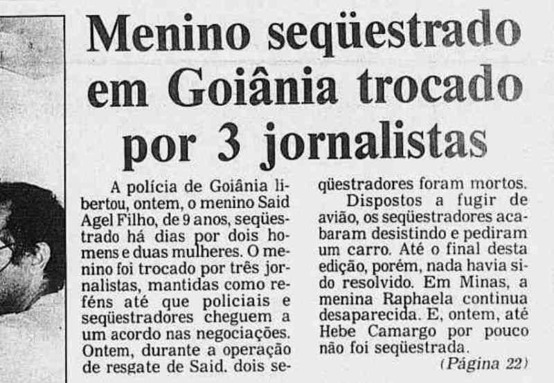 Caso de sequestro foi notícia em todos os principais jornais do Brasil em 1989 | Foto: Reprodução / Jornal O Liberal