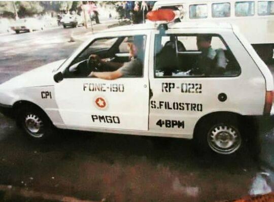 Viaturas antigas da PMGO: Fiat Uno | Foto: Reprodução