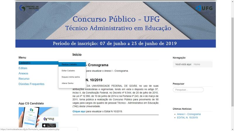 Inscrições serão realizadas por meio do site do Centro de Seleção da UFG | Foto: Reprodução