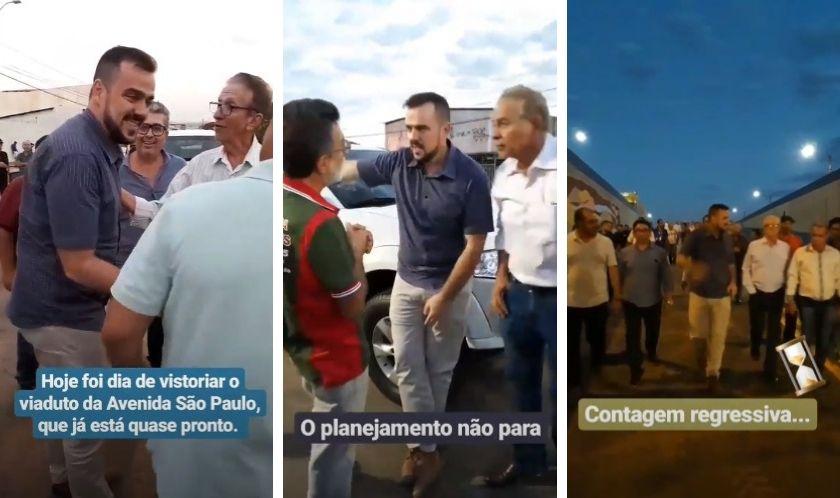 O prefeito Gustavo visitou às obras da trincheira da Vila Brasília