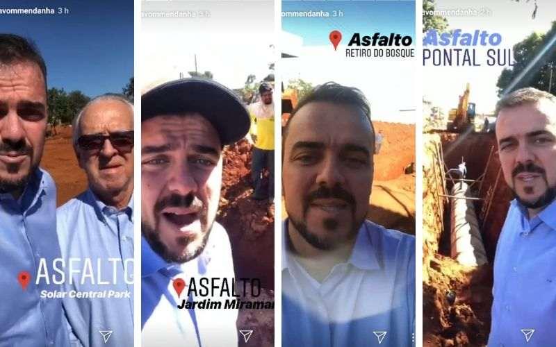 Mendanha divulga frentes de asfalto em Aparecida nas suas redes sociais | Foto: Reprodução