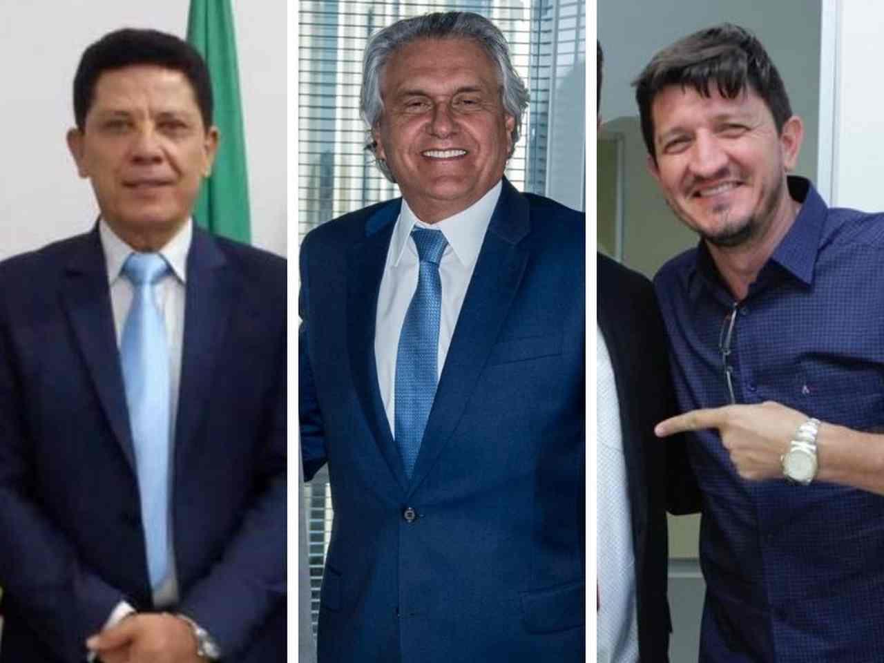 Governador Ronaldo Caiado (DEM) entre o vereador Nascimento (DEM) e o deputado federal Glaustin da Fokus (PSC): quem será o adversário de Mendanha em 2020 | Foto: Reprodução