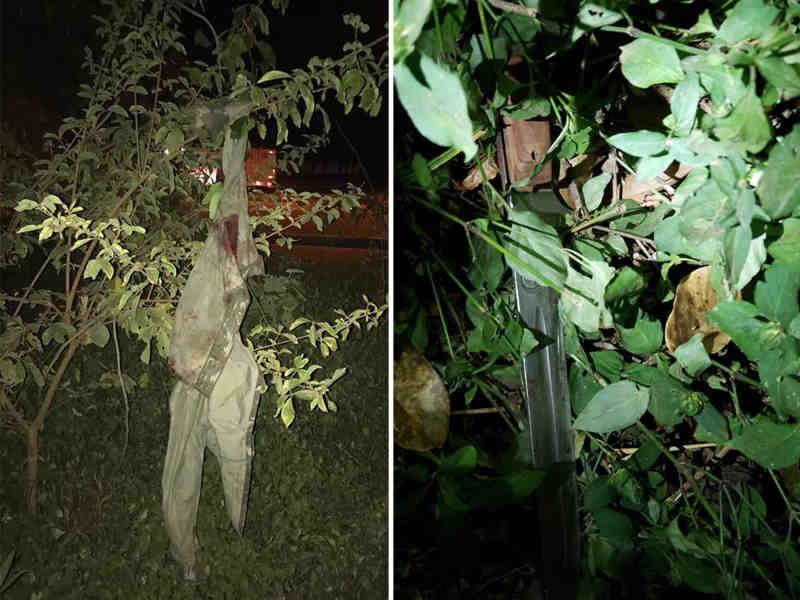 Jaqueta suja de sangue e faca foram encontradas após buscas em uma mata próxima ao local do crime | Foto: Divulgação / PM