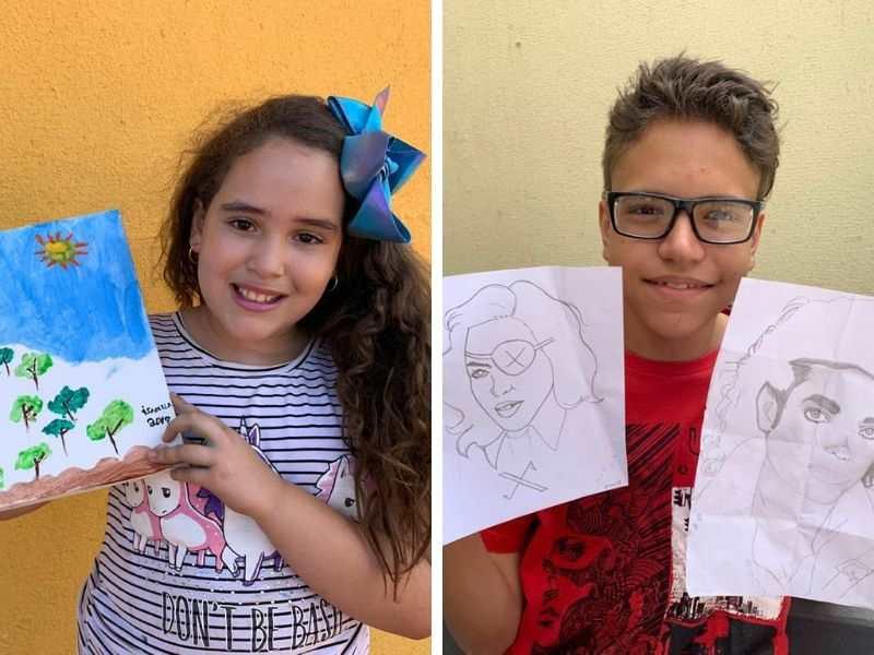 Artistas mirins: Isabella Neves, 9 anos, e Gustavo Batista Ribeiro, 13 anos | Fotos: Valdemy Teixeira