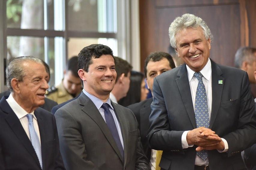 Governador Ronaldo Caiado e prefeito Iris Rezende receberam o ministro Sérgio Moro na manhã desta segunda-feira, 23, em Goiânia | Foto: Divulgação / Governo de Goiás