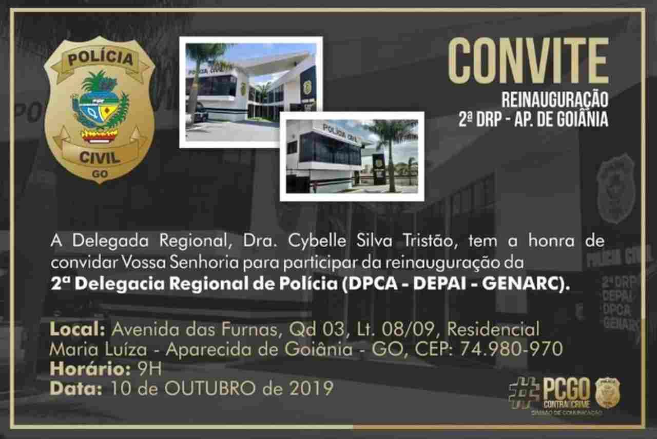 Flyer reinauguração Delegacia Regional Aparecida