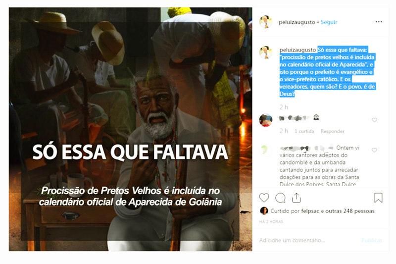 'Só o que faltava', diz Padre Luiz sobre Dia de Pretos Velhos em Aparecida | Foto: Reprodução / Instagram