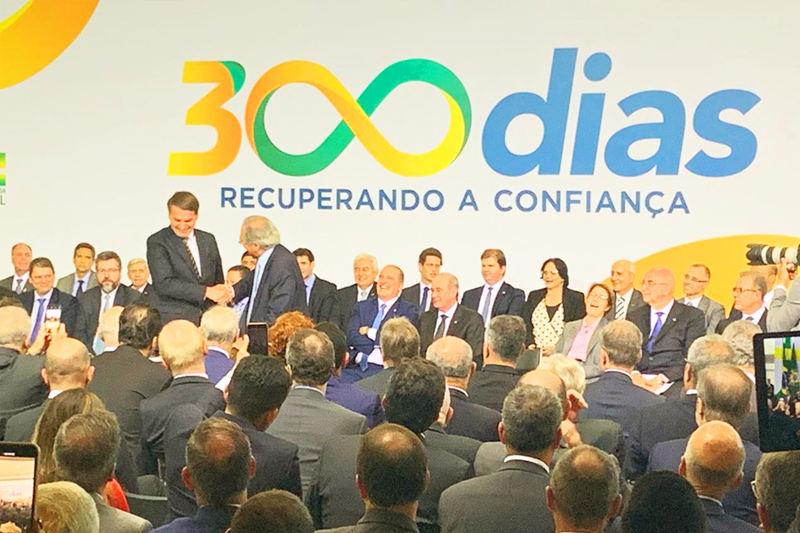 Cerimônia marcou os 300 dias de governo do presidente Jair Bolsonaro (PSL) no Palácio do Planalto   Foto: Divulgação
