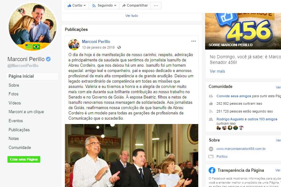 Última postagem de Marconi relembrou o aniversário da morte do jornalista Isanulfo de Abreu Cordeiro | Foto: Reprodução / Facebook