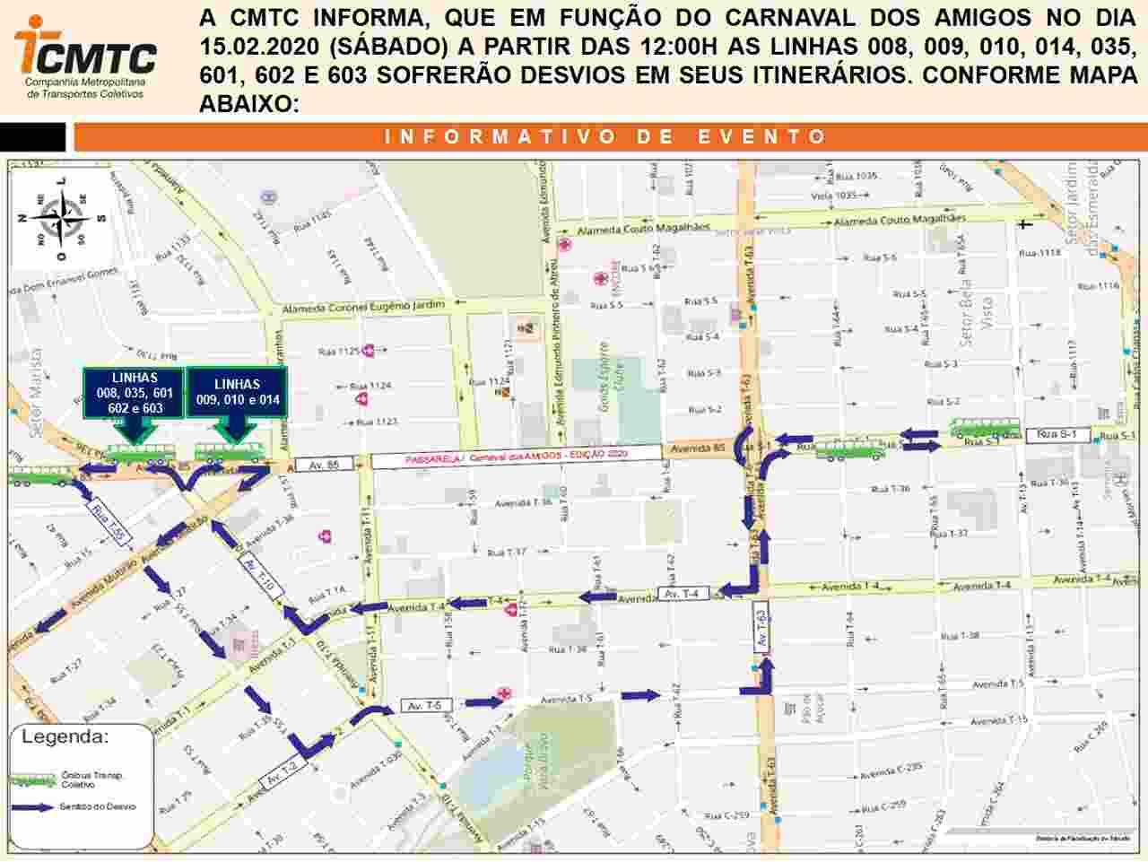 linha de ônibus Carnaval Goiânia