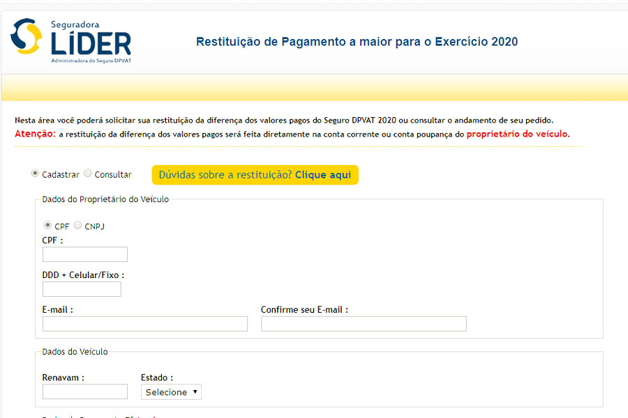 Restituição do DPVAT deve ser solicitada por meio do site da Seguradora Líder   Foto: Reprodução