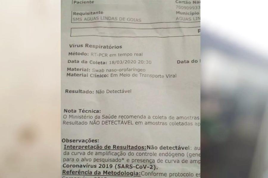 Exame realizado no HDT, em Goiânia, resultou negativo para coronavírus | Foto: Reprodução