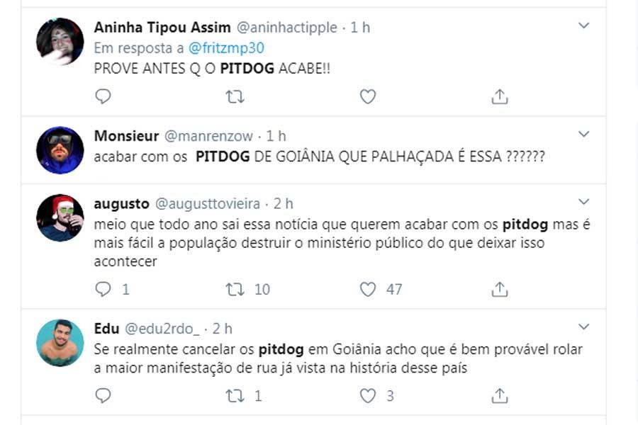 Tuiteiros reclamaram da ação do MP que pode resultar na anulação das concessões de pit dogs em Goiânia | Foto: Reprodução / Twitter