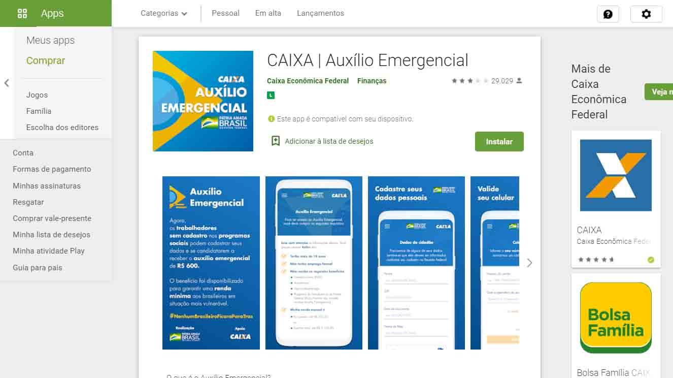 Atenção aos detalhes: Esse é o aplicativo oficial da Caixa Econômica para cadastro do Auxílio Emergencial, o coronavoucher | Foto: Google Play Store