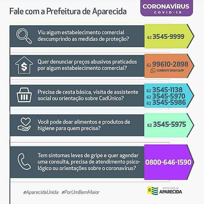 Números de telefones importantes na crise do coronavírus divulgados pela Prefeitura de Aparecida | Foto: Divulgação
