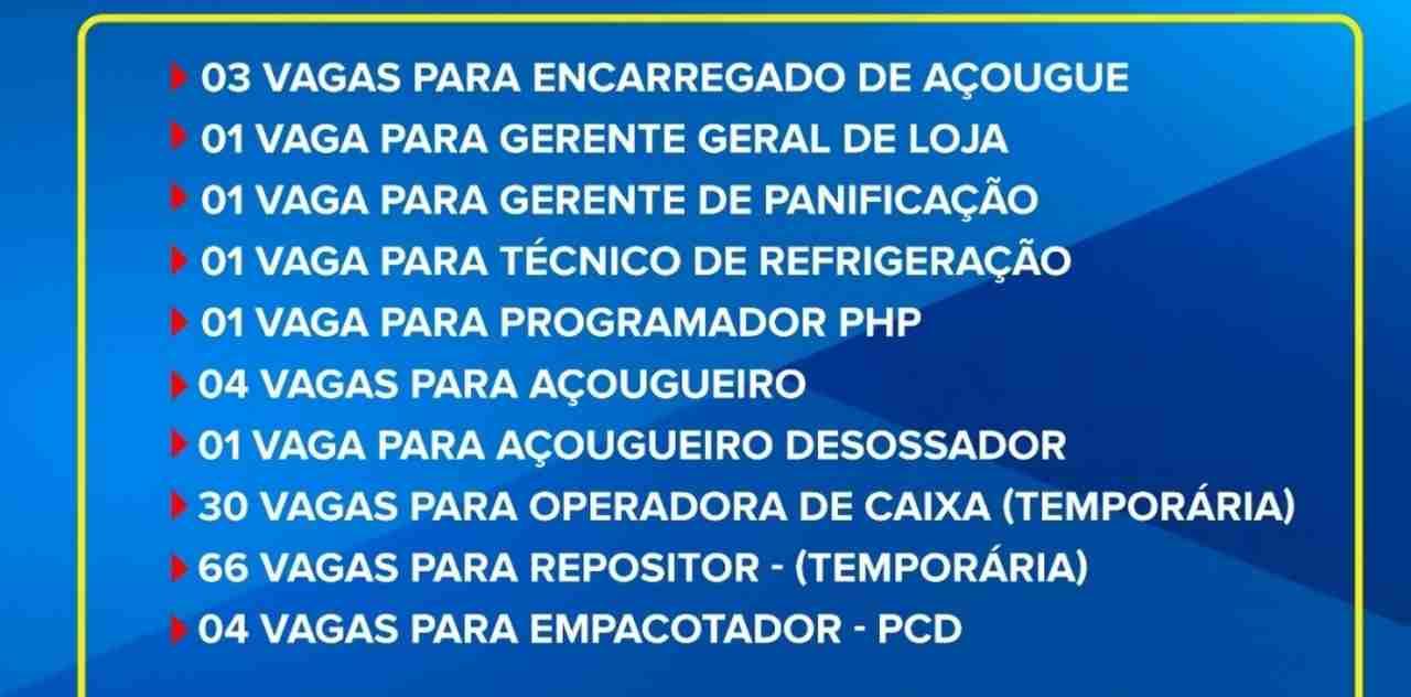 número vagas supermercados Tatico Goiânia