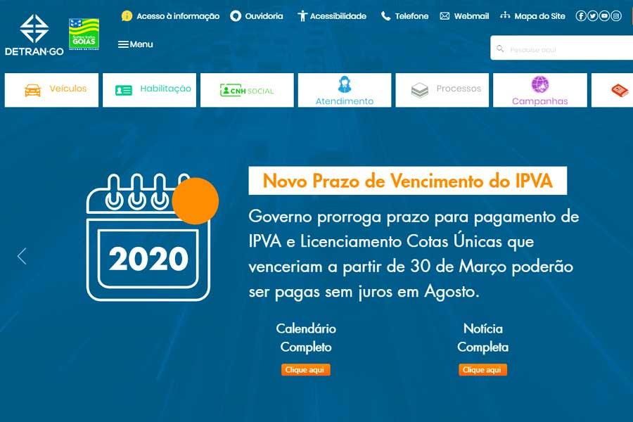Site do Detran Goiás | Foto: Reprodução