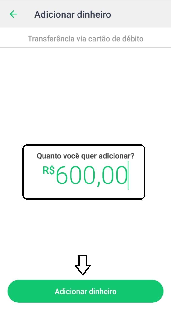 adicionar dinheiro PicPay