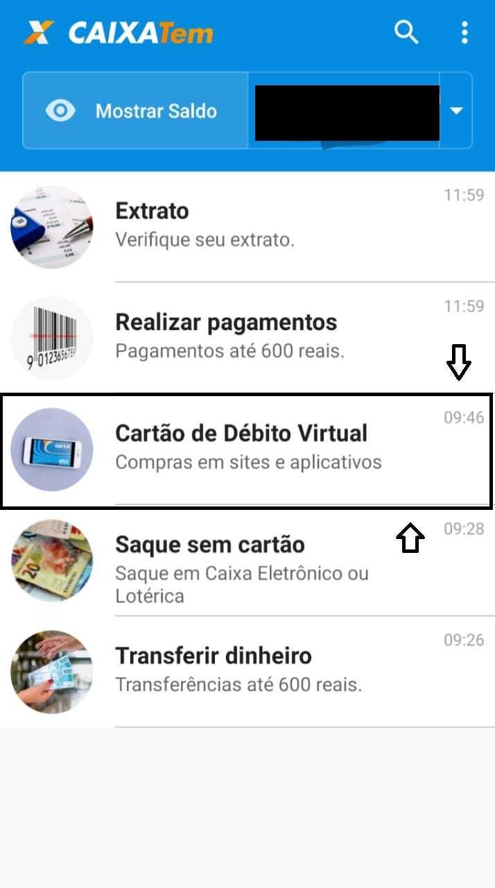 cartão débito virtual Caixa Tem