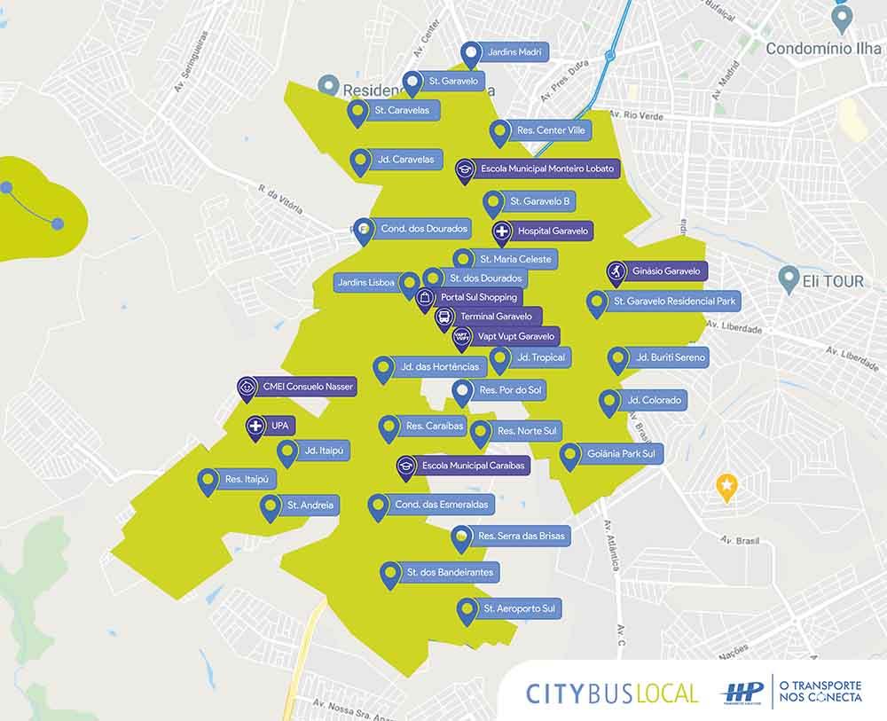 Mapa das rotas do CityBus em Aparecida   Foto: Divulgação