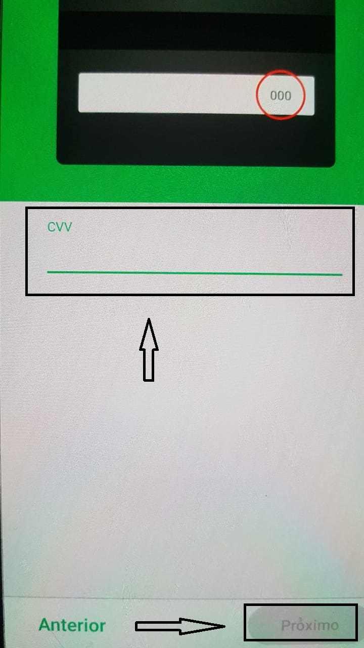 código segurança cartão PicPay