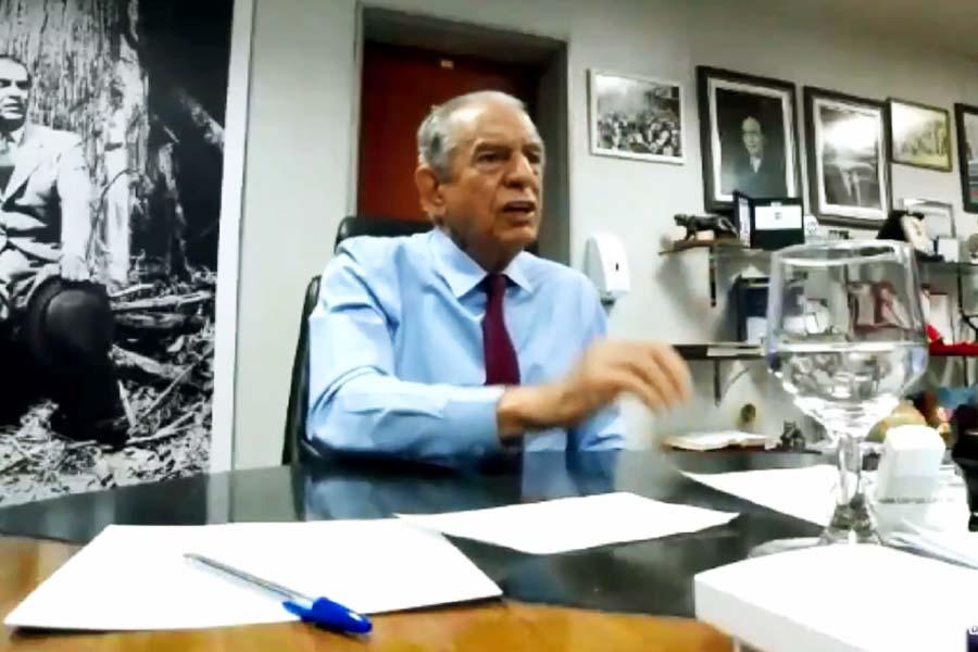 Iris Rezende em reunião virutal com Ronaldo Caiado e outros 31 prefeitos goianos | Foto: Reprodução