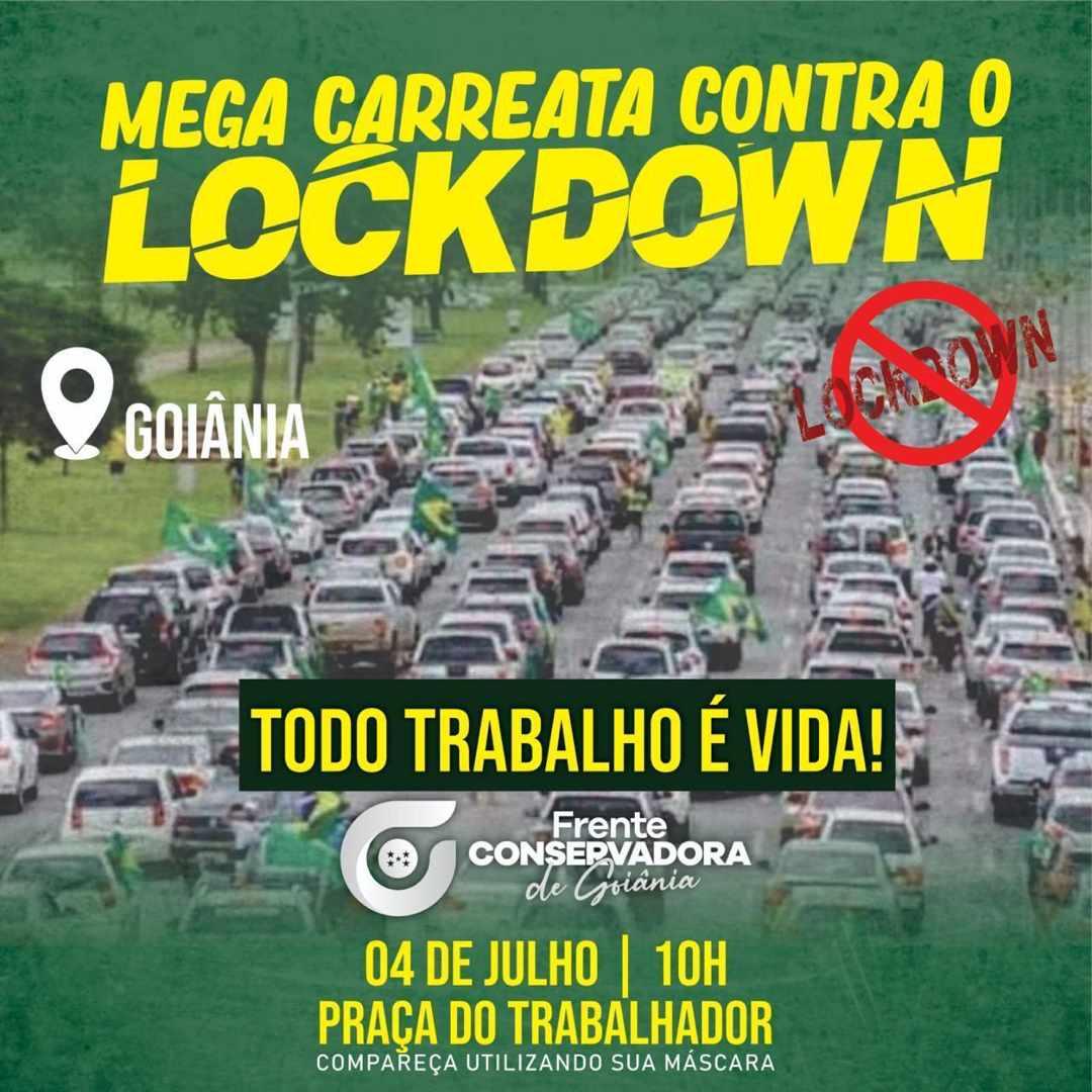 Carreata convocada para sábado (4) protestará contra o lockdown de 14 dias em Goiânia | Foto: Reprodução