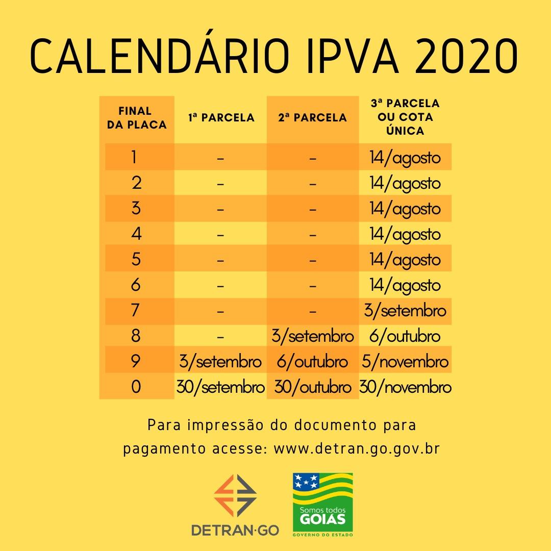 calendário IPVA GO